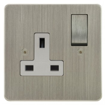 Focus SB Horizon HSN18.1W 1 gang 13 amp switched socket in Satin Nickel with white inserts