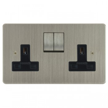 Focus SB Horizon HSN18.2B 2 gang 13 amp switched socket in Satin Nickel with black inserts