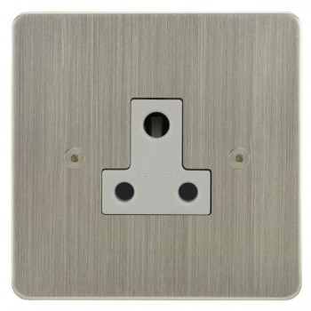 Focus SB Horizon HSN20.1W 1 gang 5 amp unswitched socket in Satin Nickel with white inserts