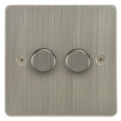 Focus SB Horizon HSN21.2 2 gang 2 way 250W (mains and low voltage) dimmer in Satin Nickel