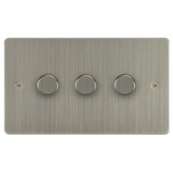 Focus SB Horizon HSN21.3 3 gang 2 way 250W (mains and low voltage) dimmer in Satin Nickel