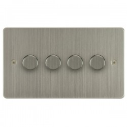 Focus SB Horizon HSN21.4 4 gang 2 way 250W (mains and low voltage) dimmer in Satin Nickel