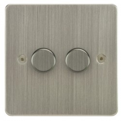Focus SB Horizon HSN22.2 2 gang 2 way 400W (mains and low voltage) dimmer in Satin Nickel