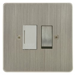 Focus SB Horizon HSN26.1W 13 amp switched fuse spur in Satin Nickel with white inserts