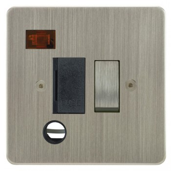 Focus SB Horizon HSN29.1B 13 amp switched fuse spur with cord outlet and neon in Satin Nickel with black inserts
