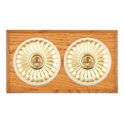 Hamilton Bloomsbury Chamfered Medium Oak Fluted Polished Brass 2 Gang Intermediate Toggle with White Inse...