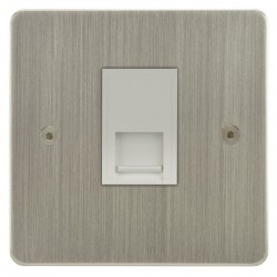 Focus SB Horizon HSN51.1W 1 gang CAT5 RJ45 socket in Satin Nickel with white inserts
