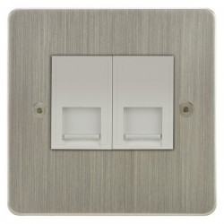 Focus SB Horizon HSN51.2W 2 gang CAT5 RJ45 socket in Satin Nickel with white inserts