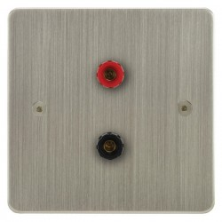 Focus SB Horizon HSN67.1 1 gang speaker outlet (1 red 1 black 4mm socket) in Satin Nickel