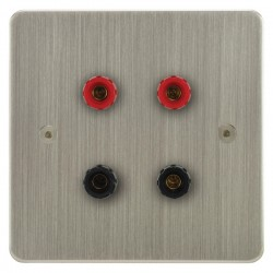 Focus SB Horizon HSN67.2 2 gang speaker outlet (2 red 2 black 4mm socket) in Satin Nickel