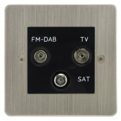 Focus SB Horizon HSN80.3B triplex TV/FM/Satellite outlet in Satin Nickel with black inserts