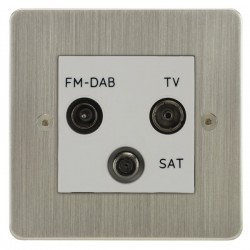 Focus SB Horizon HSN80.3W triplex TV/FM/Satellite outlet in Satin Nickel with white inserts