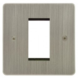 Focus SB Horizon HSNEUR.1 single aperture plate for a single euro module in Satin Nickel