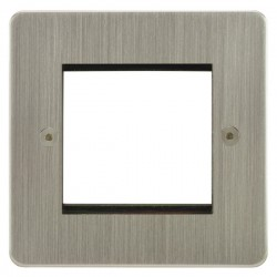 Focus SB Horizon HSNEUR.2 single aperture plate for two single euro modules in Satin Nickel