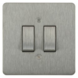 Focus SB Horizon HSS11.2 trimless 2 gang 20 amp 2 way rocker switch in Satin Stainless