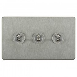 Focus SB Horizon HSS14.3 3 gang 20 amp 2 way toggle switch in Satin Stainless