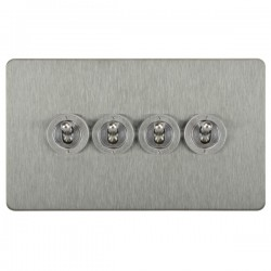 Focus SB Horizon HSS14.4 4 gang 20 amp 2 way toggle switch in Satin Stainless