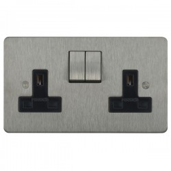 Focus SB Horizon HSS18.2B 2 gang 13 amp switched socket in Satin Stainless with black inserts