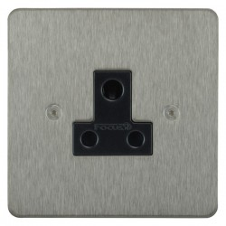Focus SB Horizon HSS20.1B 1 gang 5 amp unswitched socket in Satin Stainless with black inserts