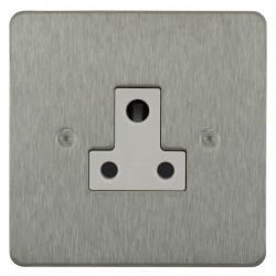 Focus SB Horizon HSS20.1W 1 gang 5 amp unswitched socket in Satin Stainless with white inserts