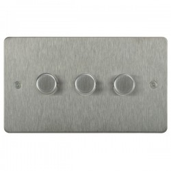 Focus SB Horizon HSS21.3 3 gang 2 way 250W (mains and low voltage) dimmer in Satin Stainless