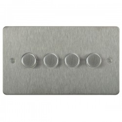Focus SB Horizon HSS21.4 4 gang 2 way 250W (mains and low voltage) dimmer in Satin Stainless