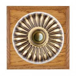 Hamilton Bloomsbury Chamfered Medium Oak Fluted Antique Brass Bell Push Toggle with White Insert