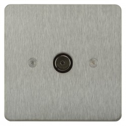 Focus SB Horizon HSS23.1 1 gang isolated co-axial TV socket in Satin Stainless