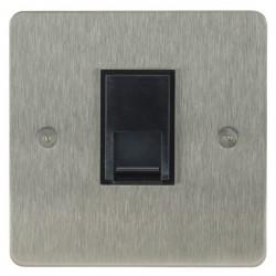 Focus SB Horizon HSS51.1B 1 gang CAT5 RJ45 socket in Satin Stainless with black inserts