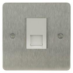 Focus SB Horizon HSS51.1W 1 gang CAT5 RJ45 socket in Satin Stainless with white inserts