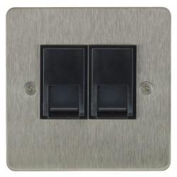 Focus SB Horizon HSS51.2B 2 gang CAT5 RJ45 socket in Satin Stainless with black inserts