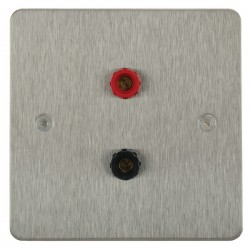 Focus SB Horizon HSS67.1 1 gang speaker outlet (1 red 1 black 4mm socket) in Satin Stainless