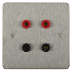 Focus SB Horizon HSS67.2 2 gang speaker outlet (2 red 2 black 4mm socket) in Satin Stainless