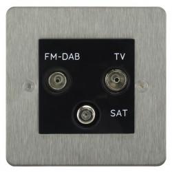 Focus SB Horizon HSS80.3B triplex TV/FM/Satellite outlet in Satin Stainless with black inserts