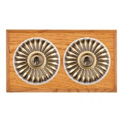 Hamilton Bloomsbury Chamfered Medium Oak Fluted Antique Brass 2 Gang 2 Way Toggle with White Insert