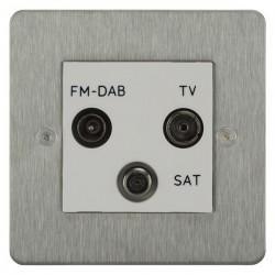 Focus SB Horizon HSS80.3W triplex TV/FM/Satellite outlet in Satin Stainless with white inserts