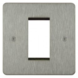 Focus SB Horizon HSSEUR.1 single aperture plate for a single euro module in Satin Stainless
