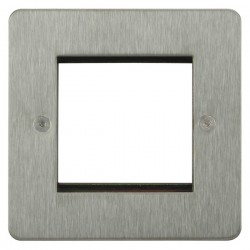 Focus SB Horizon HSSEUR.2 single aperture plate for two single euro modules in Satin Stainless
