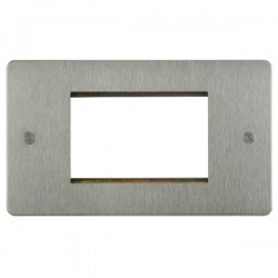 Focus SB Horizon HSSEUR.3 double aperture plate for three single euro modules in Satin Stainless