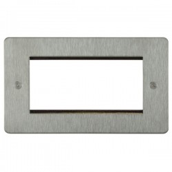 Focus SB Horizon HSSEUR.4 double aperture plate for four single euro modules in Satin Stainless