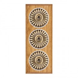 Hamilton Bloomsbury Chamfered Medium Oak Fluted Antique Brass 3 Gang 2 Way Toggle with White Insert