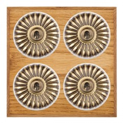 Hamilton Bloomsbury Chamfered Medium Oak Fluted Antique Brass 4 Gang 2 Way Toggle with White Insert