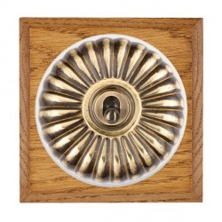 Hamilton Bloomsbury Chamfered Medium Oak Fluted Antique Brass 1 Gang Double Pole Toggle with White Insert