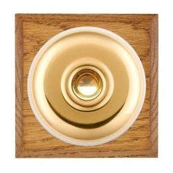 Hamilton Bloomsbury Chamfered Medium Oak Plain Polished Brass Bell Push Toggle with White Insert