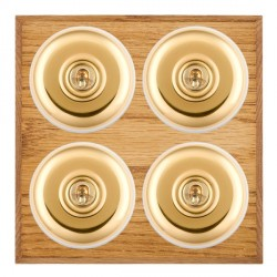 Hamilton Bloomsbury Chamfered Medium Oak Plain Polished Brass 4 Gang 2 Way Toggle with White Insert