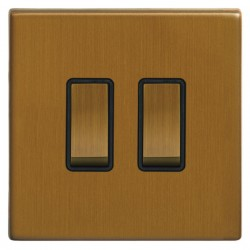 Focus SB Morpheus MBA11.2B 2 gang 20 amp 2 way rocker switch in Bronze Antique with black inserts