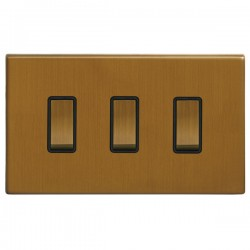 Focus SB Morpheus MBA11.3B 3 gang 20 amp 2 way rocker switch in Bronze Antique with black inserts
