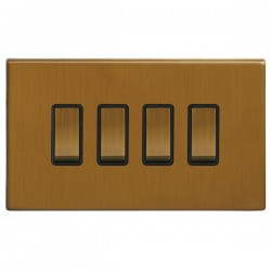 Focus SB Morpheus MBA11.4B 4 gang 20 amp 2 way rocker switch in Bronze Antique with black inserts