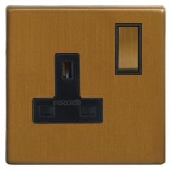 Focus SB Morpheus MBA18.1B 1 gang 13 amp switched socket in Bronze Antique with black inserts