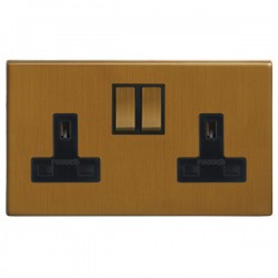 Focus SB Morpheus MBA18.2B 2 gang 13 amp switched socket in Bronze Antique with black inserts